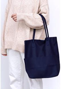Bolsa Line Store Leather Sacola Shopper N1 Bolsos Couro Azul Marinho - Kanui