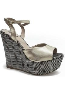 Anabela Estampa Chevron Sapato Show - Feminino-Dourado