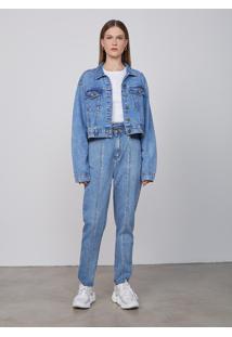 Jaqueta Jeans Feminina Reta - Azul