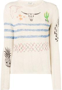 Saint Laurent Arizona Print Sweater - Neutro