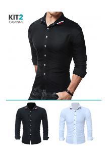 Kit 2 Camisas Masculinas Slim Fit Com Detalhe Na Gola Manga Longa - Branco E Preto