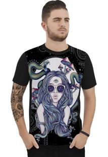 Camiseta Ramavi Fashion Snake Manga Curta Preto