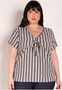 Blusa Listrada Mescla Com Amarração Plus Size