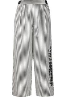 Karl Lagerfeld Calça Com Listras E Logo Bordado - Branco