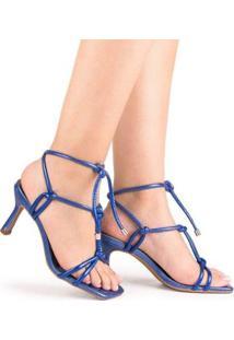 Sandália Salto Alto Di Valentini Bethani Napa Metalizado Feminina - Feminino-Azul