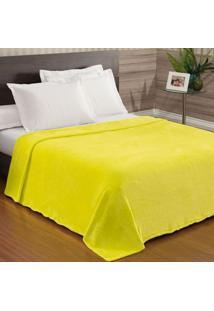 Cobertor / Manta Casal Microfibra Flanel Lisa Amarelo Neon - 200 Gramas/M2