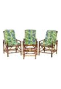 Conjunto Mesa E 3 Cadeiras De Bambu Cancun Para Área Edicula Jardim G21