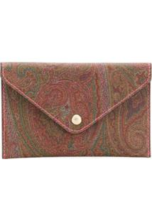 Etro Paisley Print Envelope Clutch Bag - Marrom