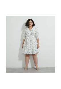 Vestido Curto Em Tricoline Com Estampa De Cachorrinhos Curve & Plus Size | Ashua Curve E Plus Size | Branco | Eg
