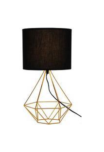 Abajur Luminária De Mesa Charme Para Sala 47X25 Metal Dourado