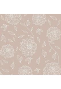 Papel De Parede Flores Marrom Claro (1000X52)