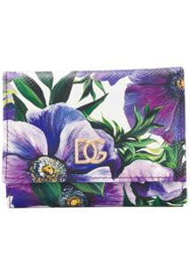 Dolce & Gabbana Carteira De Couro Com Estampa Floral - Roxo