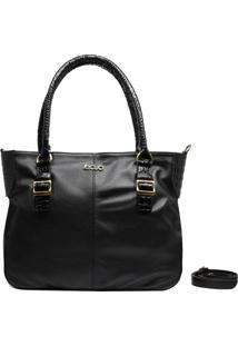 Bolsa Em Couro Recuo Fashion Bag Sacola Preto