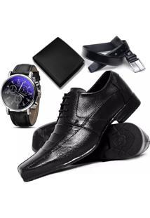 4b8cc4fe7 Dafiti. Relógio Kit Masculino Preto Social Flex 901 Sapato Carteira Top  Cinto Com