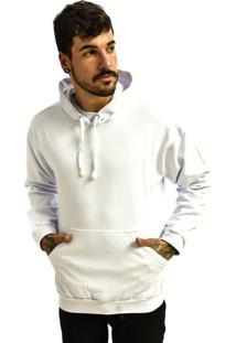 Blusa Rich Young Moletom Canguru Capuz Liso Básico Branco