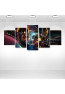 Quadro Decorativo - Abstract Design P - Composto De 5 Quadros - Multicolorido - Dafiti