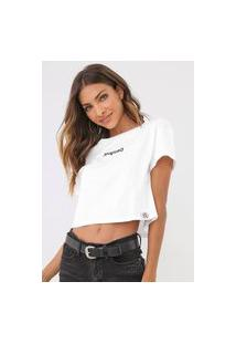 Camiseta Cropped Desigual Sonar Branca
