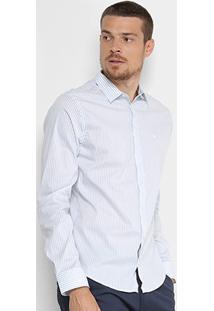 Camisa Forum Manga Longa Listrada Slim Masculina - Masculino-Azul+Branco