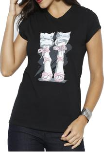 Camiseta Polo Factory Pink Shoes Preto