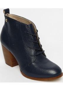 Ankle Boot Em Couro Com Pesponto- Azul Marinho- Saltjorge Bischoff