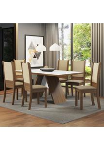 Conjunto Sala De Jantar Madesa Melinda Mesa Tampo De Madeira Com 6 Cadeiras Marrom - Tricae