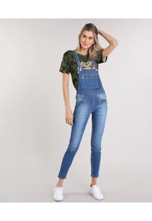 Macacão Jeans Feminino Com Bolsos Azul Médio