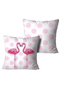 Kit 2 Capas Para Almofadas Decorativas Flamingos Poa Multicolorido