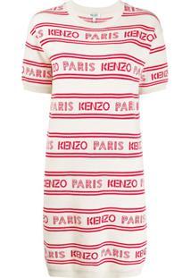 Kenzo Vestido De Tricô Com Estampa De Logo E Listras - Branco