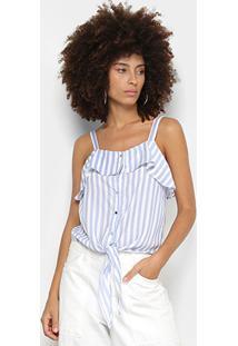 Regata Lily Fashion Listrada Babados Amarração Cintura Feminina - Feminino-Azul