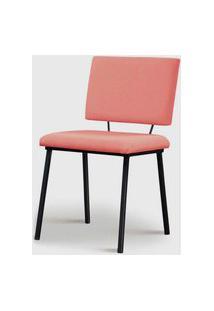 Cadeira Antonella Aço Preto Assento/Encosto Estofado Linho Coral Daf