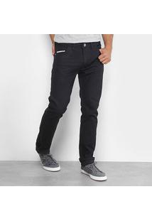 Calça Jeans Slim Preston Escura Elastano Masculina - Masculino-Marinho