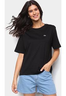 Camiseta Lacoste Boy Fit Feminina - Feminino-Preto
