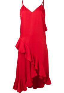 Kenzo Vestido Com Babados - Vermelho