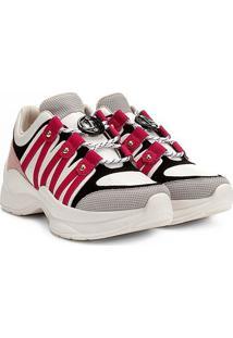 Tênis Couro Jorge Bischoff Glam Chunky Sneaker Feminino - Feminino-Branco+Rosa