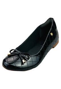 Sapatilha Love Shoes Bico Redondo Conforto Matelasse Verniz Laçinho Preto