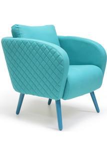 Poltrona Decorativa Com Pés Palito Lymdecor Dana Tressê B-150 Algodão Liso Azul