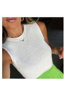 Blusa Cropped Feminino Tricot Modal Verão Cor Branco