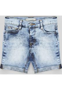 Bermuda Jeans Infantil Reta Com Barra Estampada Camuflada Azul Claro