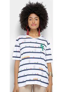 Camiseta Cantão Estampada Com Bordado Feminina - Feminino-Azul Escuro