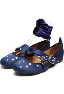 Sapatilha Vizzano Ballet Cetim Aplicações Azul-Marinho