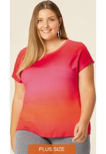 Blusa Vermelho Ampla Tie Dye Em Moletinho Plus