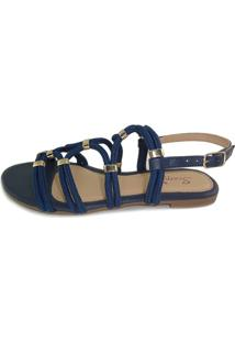 Rasteira Scarpan Calçados Finos Sandália De Cordas Azul Marinho Com Enfeite Ouro