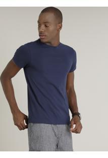 Camiseta Masculina Básica Manga Curta Gola Careca Azul Marinho