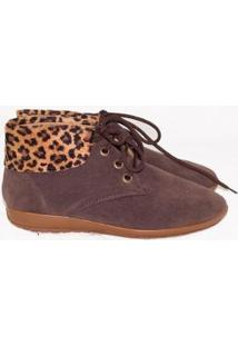Bota Gomes Shoes Onça Em Camurça Feminina - Feminino-Marrom