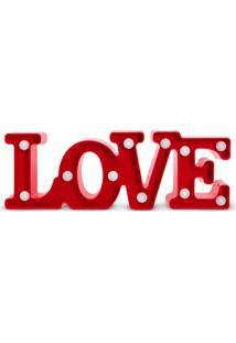 Luminária De Mesa Led Infantil Decorativa Love Vermelha