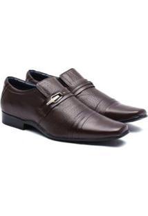Sapato Social Manutt Couro 0505 Laser Masculino - Masculino-Marrom