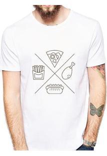 Camiseta Coolest Junk Food Masculina - Masculino-Branco