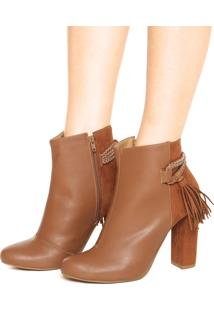 Ankle Boot Dafiti Shoes Tassel Caramelo