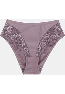 Calcinha Marcyn Renda Plus Size Cavada Feminina - Feminino-Violeta