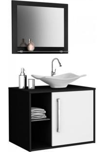 Gabinete Para Banheiro Com Cuba E Espelheira Baden Móveis Bechara Preto/Branco